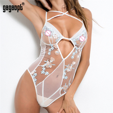 Gagaopt 2018 Sexy Lace Bodysuit Floral Embroidery Mesh Hollow Out Bandage Romper Women Jump