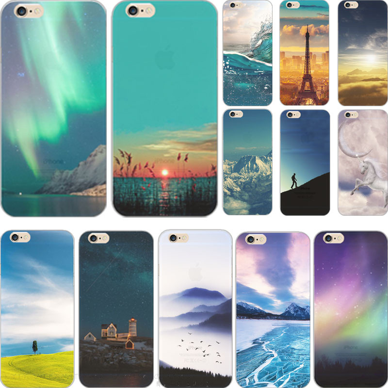 Fashion Soft Silicone TPU Case For iPhone 5 5S SE 6 6S Plus Mountain City Landscape Seasons Scenery Starry sky Skin Cover