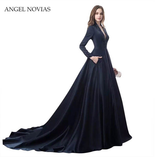 Online Shop Long Sleeves Arabic Dubai Navy Blue Ball Gown Evening Dress  2018 Women Party Evening Gowns Robe De Soiree with Beadings  2e09229f7e96