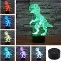 Mundo Animal USB Acrílico Colorido Dinosaurio Nightlight Hogar Oficina Dormitorio LED Lámpara de Mesa Niño Regalo de Navidad 3D-TD114 + 120