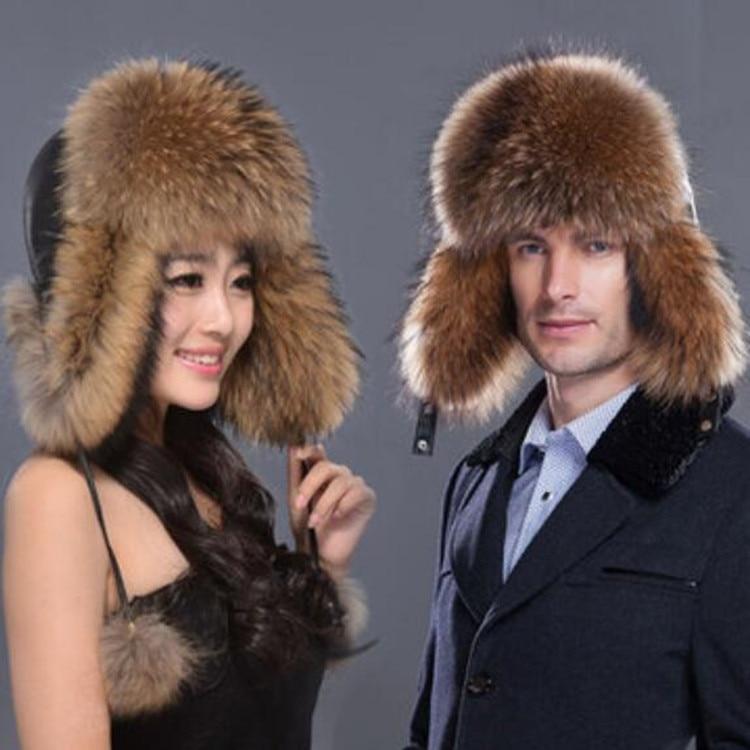 100% Natural Silver Fox Fur Hat For Couple Men Women Real Raccoon Fur Winter Warm Thick Cap Fur Earflap Snow Leifeng Hats