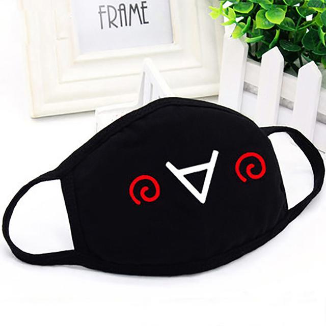 Linda cara Lov ely imprimir K-pop máscaras de algodón Unisex gracioso expresión negro máscara de boca Z4