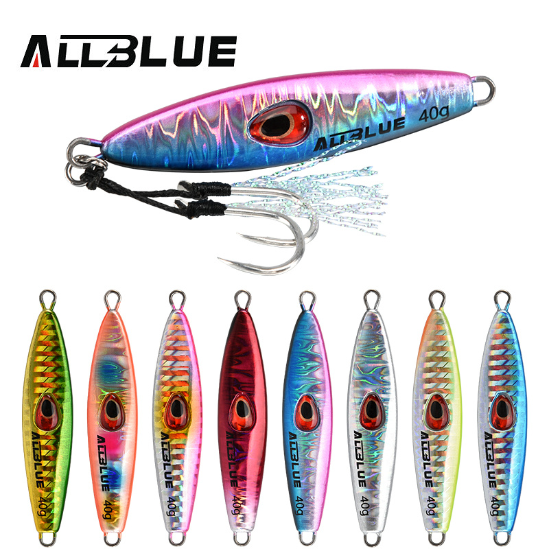 ALLBLUE Lucky Jack Slow Metal Jig 28G 40G Artificial Bait Off Shore Fishing Lure Casting Jigging Spoon Lead Fish Fishing Tackle