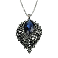 Latest Top Quality Vintage Neckalce For Women Crystal Rhinestone Pendent Retro Long Sweater Necklace Leather Chain