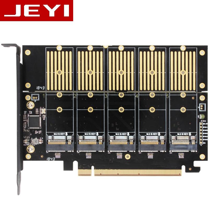 JEYI JMS585-X16 PCIE 5 m. 2 SATA expansion card turn PCIE3.0 SATA RAID array card 5*ssd 5*ngff 5*m.2 softraid card big power NEWJEYI JMS585-X16 PCIE 5 m. 2 SATA expansion card turn PCIE3.0 SATA RAID array card 5*ssd 5*ngff 5*m.2 softraid card big power NEW