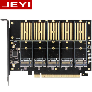 Image 1 - JEYI JMS585 X16 PCIE 5 m. 2 SATA expansion card turn PCIE3.0 SATA RAID array card 5*ssd 5*ngff 5*m.2 softraid card big power NEW