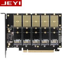 JEYI JMS585 X16 PCIE 5 m. 2 SATA expansion card turn PCIE3.0 SATA RAID array card 5*ssd 5*ngff 5*m.2 softraid card big power NEW