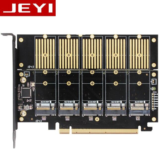 JEYI JMS585 X16 PCIE 5 m. 2 SATA expansion karte drehen PCIE 3,0 SATA RAID array karte 5 * ssd 5 * ngff 5 * m.2 softraid karte big power NEUE