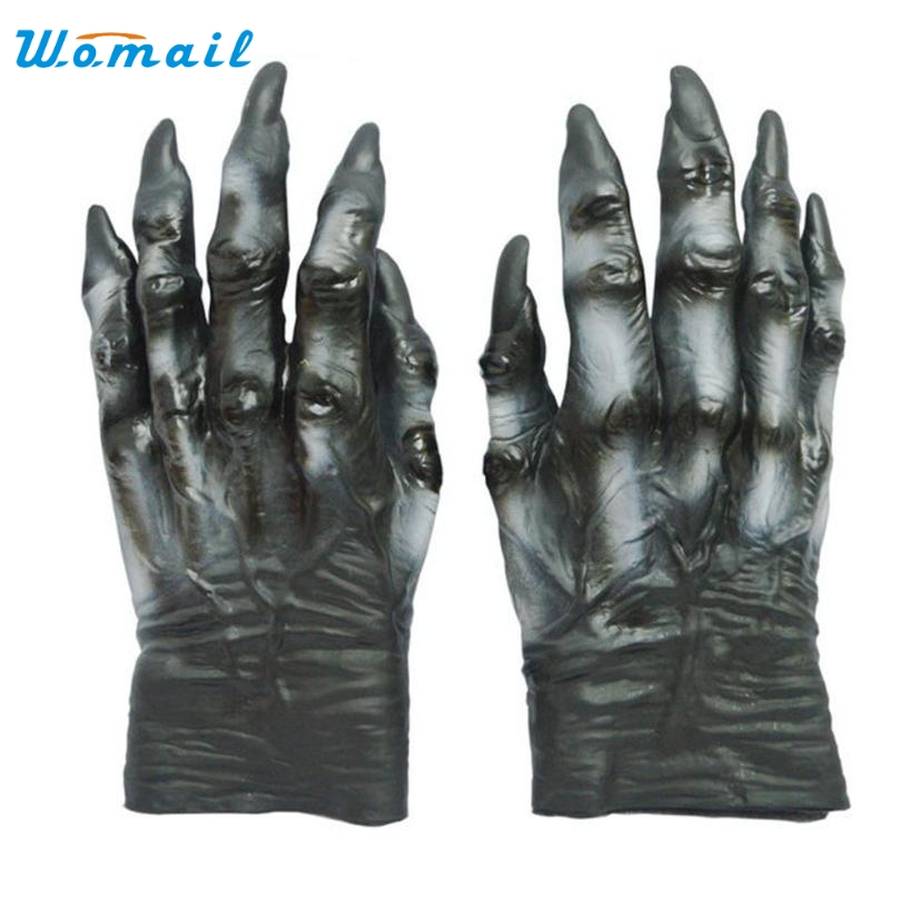1 pair halloween cosplay latex terror gloves adult women men amazing 2016 drop ship wholesale - Halloween Novelties Wholesale