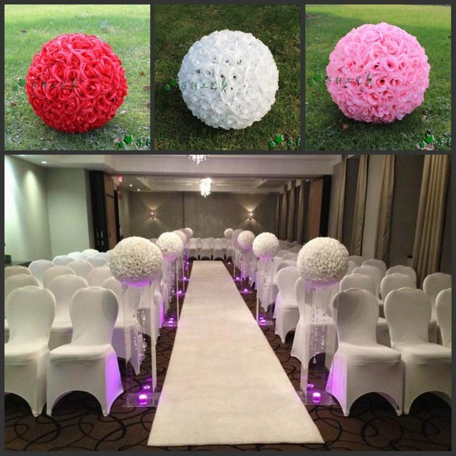 20 50 cm large size white color artificial rose silk flower kissing 20 50 cm large size white color artificial rose silk flower kissing balls for wedding mightylinksfo Choice Image