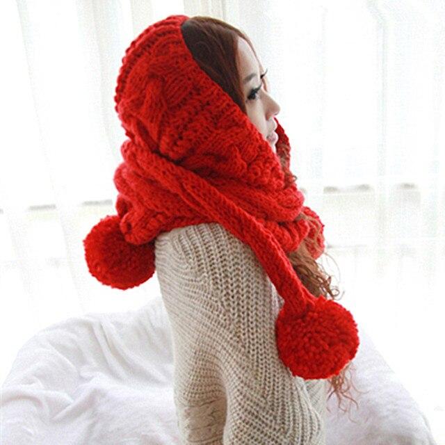 Милые Женщины Зима Теплая Густая Шапка Шарф Ручной Вязки Hat Шапки Подарок