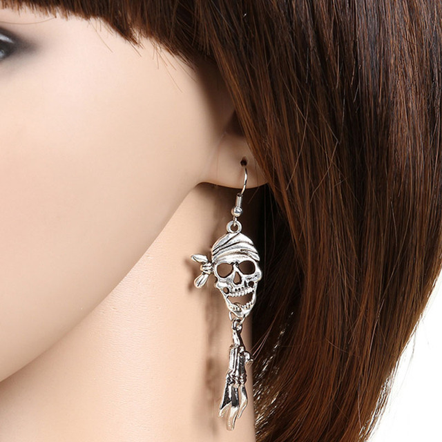 Skull Skeleton Earrings For Women Men Accessories Silver Color Charm Statement Drop Earring Vintage Fashion