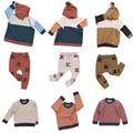 Kikikids 1-7 лет дети 2017 ВЕСНА ОСЕНЬ NUNUNU КРОШЕЧНЫЕ одежда наборы childrenT футболка + брюки детские свитера мальчик одежда ТОЛСТЫЕ ШТАНЫ