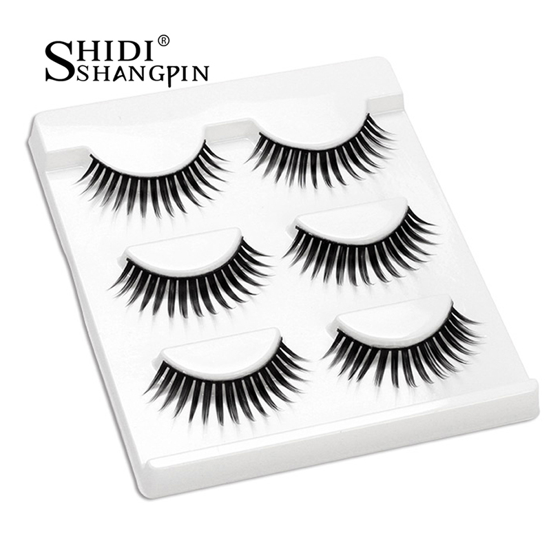 SHIDISHANGPIN 3d mink eyelash extension hand made 3 pairs eyelashes natural long 3d mink lashes 1 box makeup false eyelash L19
