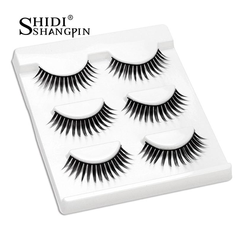 SHIDISHANGPIN 3d norek przedłużanie rzęs ręcznie wykonane 3 pary rzęs naturalne długie 3d norek rzęsy 1 pudełko makijaż sztuczne rzęsy L19
