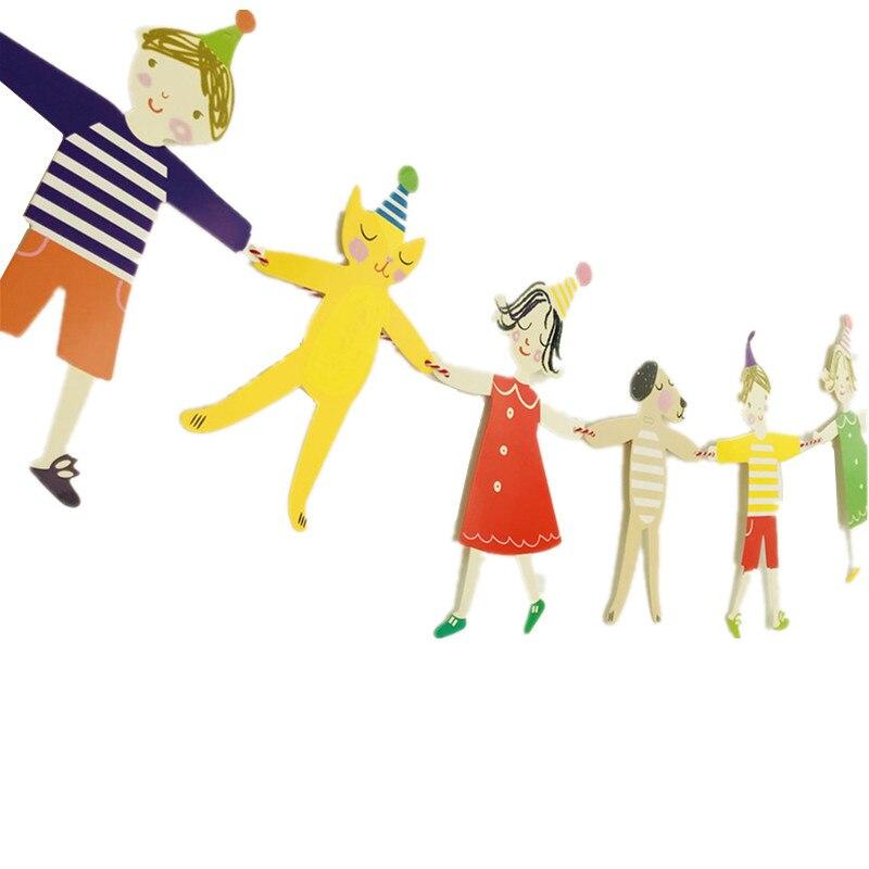 Милые Руки в руках мальчик девочка кошка и собака мультфильм Сделай Сам флаг День рождения баннер флаг декоративная бумага для вечеринок флаги висячие орнамент