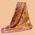 Da Hua marca de luxo 90 * 90 100% lenço de seda impresso sarja de seda xale