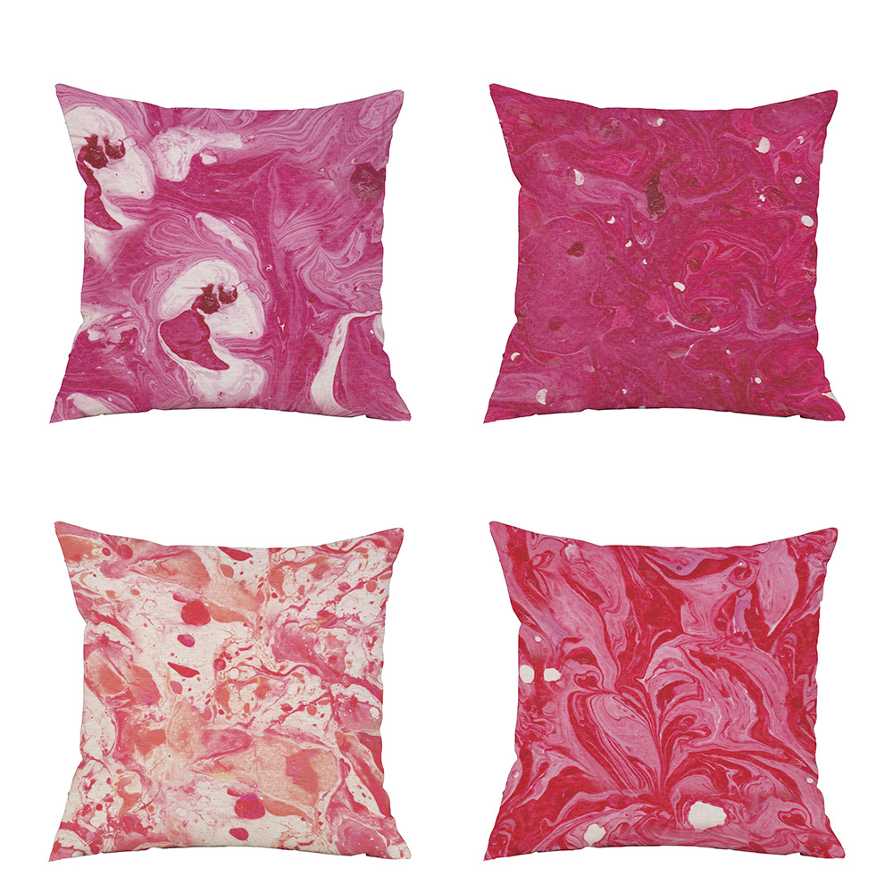 Red Marble Pattern Zippered Square Pillow Case Sofa Throw