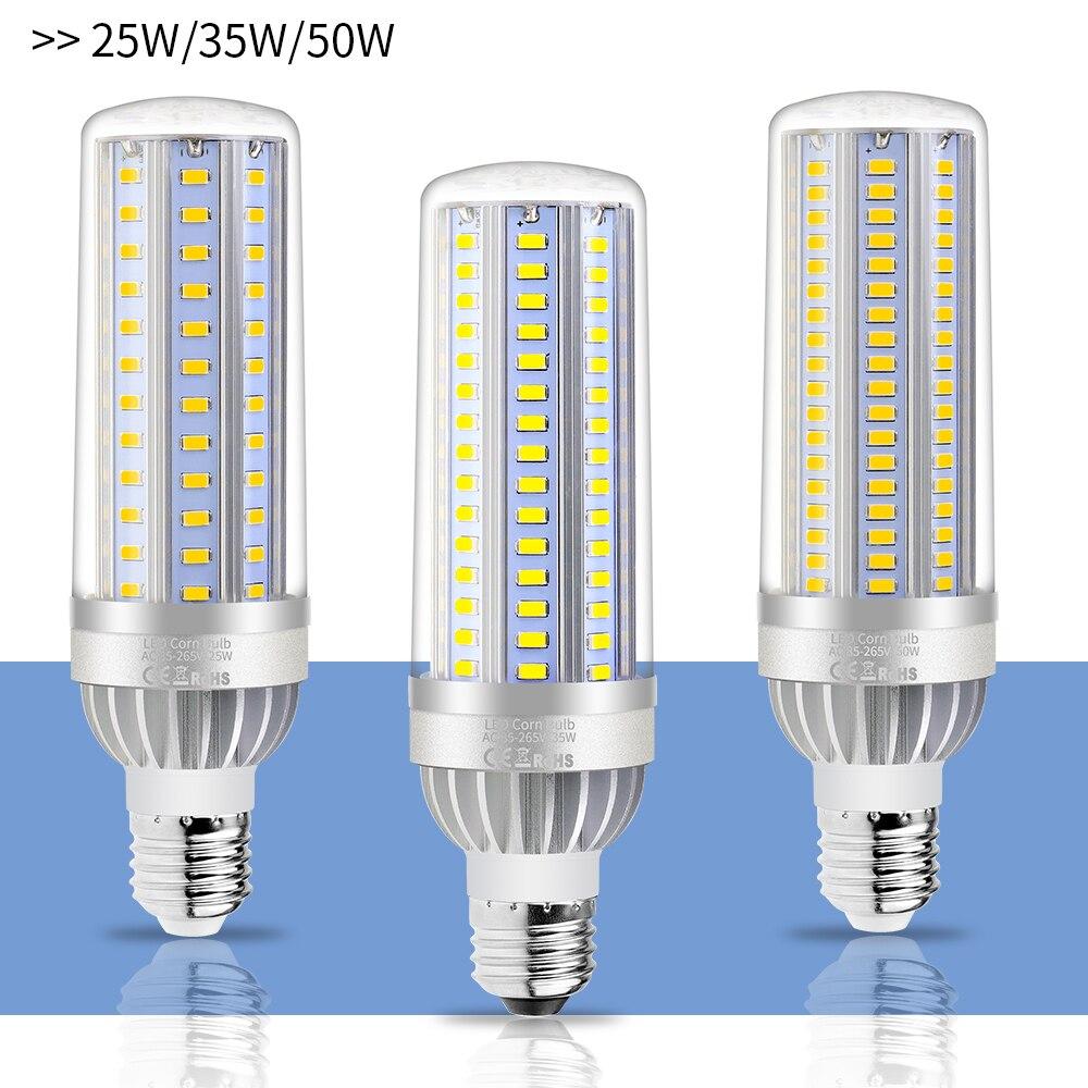 No Flicker LED Lamp E27 High Power LED Light Bulb 220V 25W 35W 50W 110V LED Corn Lamp Bulb E26 AC85-265V Aluminum Fan Cooling