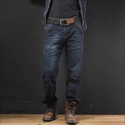 الرجال البضائع الجينز متعددة جيوب مرونة زائد حجم الجينز الربيع الخريف عارضة الرجال الدنيم السراويل القطن فضفاض الجينز السراويل a3263