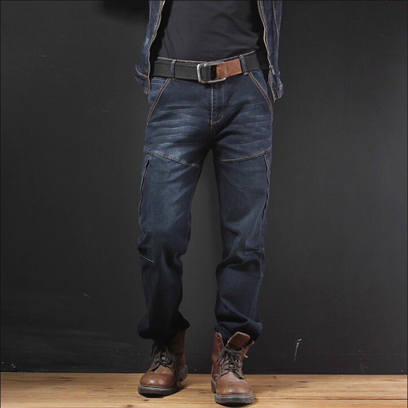 Jeans Pants Men Cargo Multi-Pockets High Elastic Jeans Male Spring Casual Denim Pants Cotton Baggy Trousers Plus Size A3263