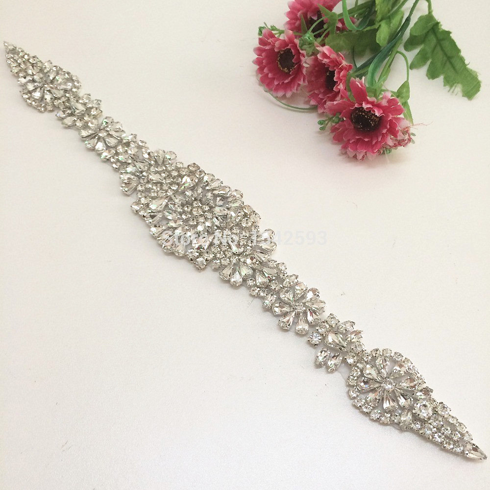 Rhinestone decoration beaded bridal trims crystal Rhinestone applique for Wedding dresses rhinestone headband sneakers
