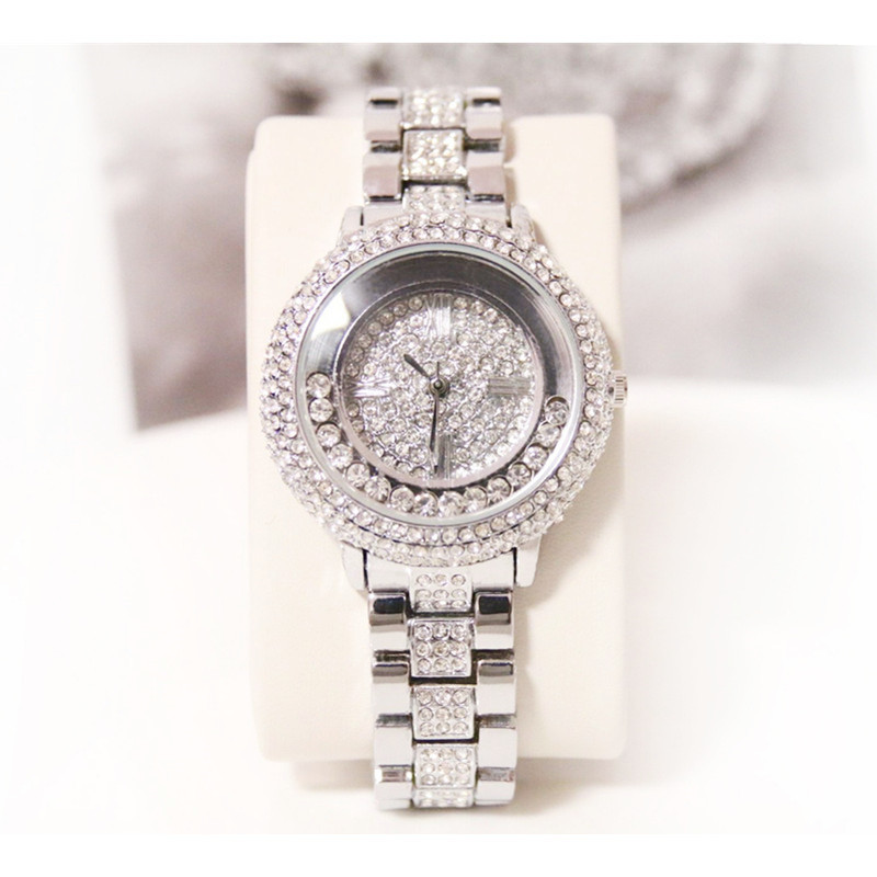 Silver Full Rhinestone Ladies Quartz Watch High end Custom Alloy Chain Watch Full Rhinestone Without Digital Large Dial Watch in Women 39 s Watches from Watches