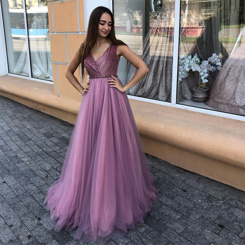 Simple V-neck   Prom     Dresses   Romantic Purple Pleats Satin Long Formal Party   Dress   2019 New Special Occasion Robe De Soiree