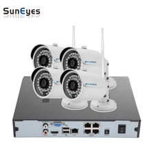 SunEyes SP-VK741W-E-POE 720P HD 4CH IP CCTV Camera NVR Kit 1SATA Port with 4pcs HD Wireless and POE Mini IP Camera Outdoor P2P