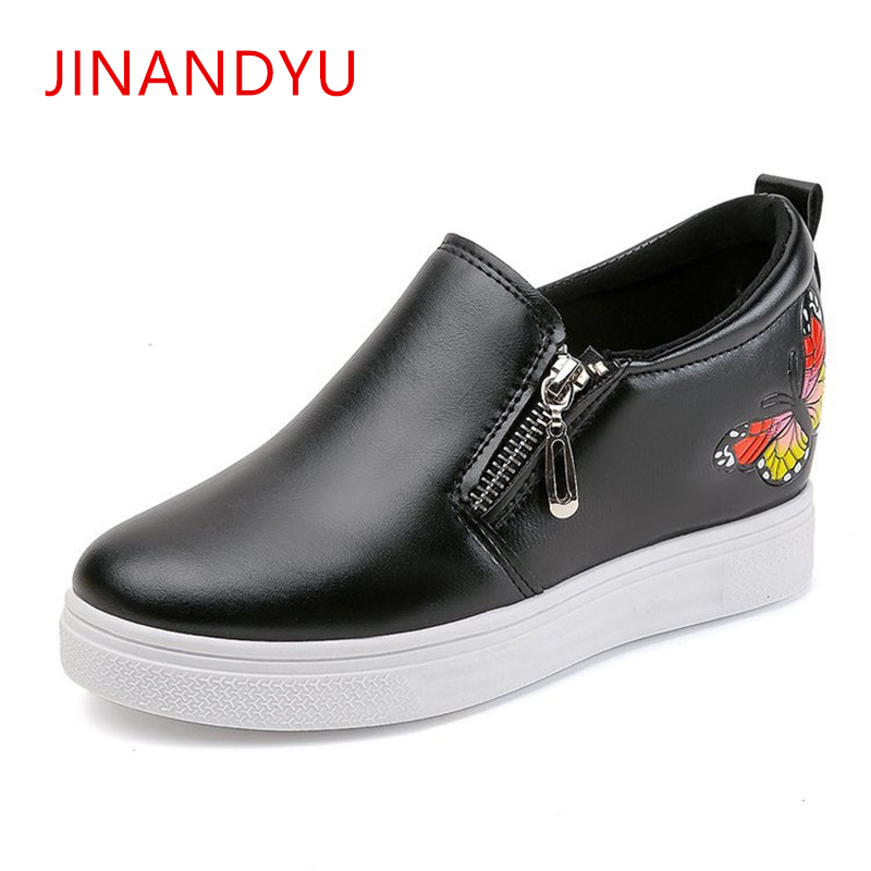 Platform Women Casual Shoes Fashion Wedges Sneakers for Embroidered Butterfly Height Increasing Breathable Loafers