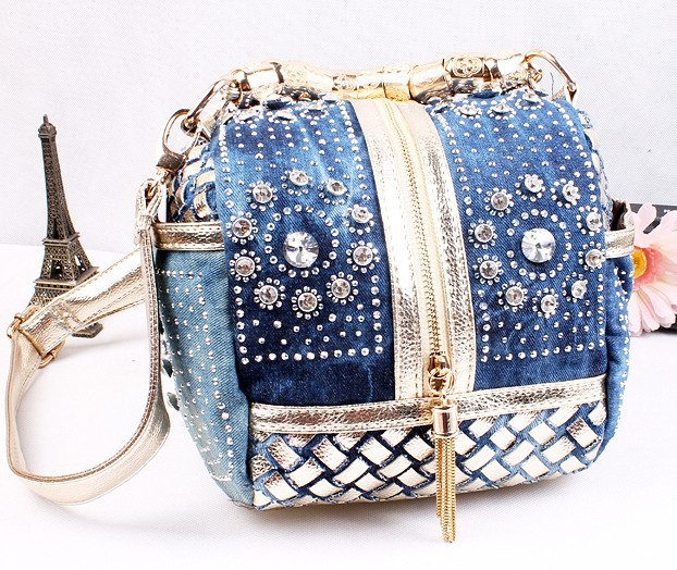 Hot 2017 Designer Woven Women Handbag Famous Brand Rhinestone Totes Shoulder bag Luxury Bags
