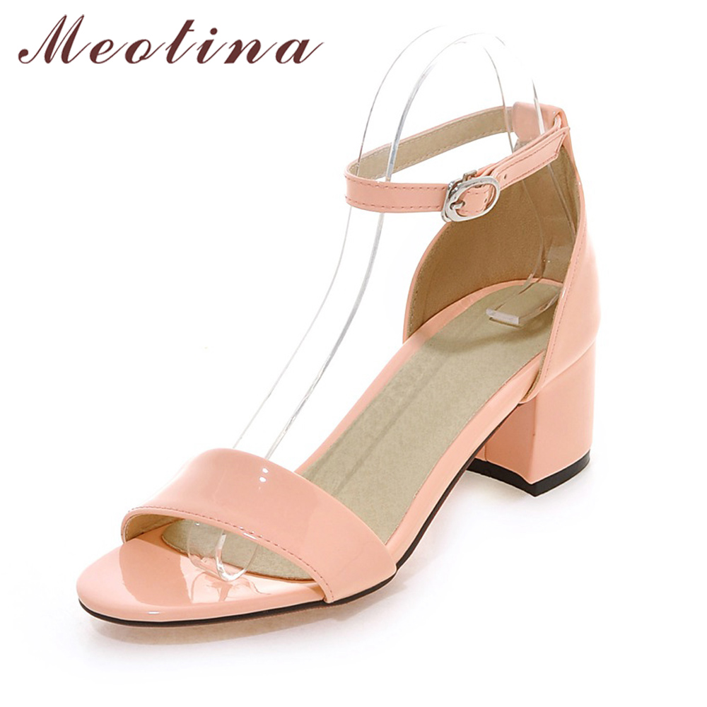 Meotina Summer Women Sandals 2018 Ankle Strap Square Heel Sandals Open Toe Mid Heels Fashion Shoes Woman Pink Beige Plus Size 43 lucyever women vintage square toe flat summer sandals flock buckle casual shoes comfort ankle strap women footwear mujer zapatos