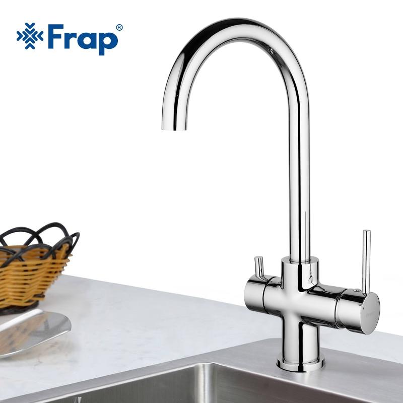 Frap Kitchen Sink Faucet Brass Kitchen Faucet With Water Purification Features Chrome Cold and Hot Water Mixer Taps GF1052-8D фильтры помпы source water purification 13 m6 pp