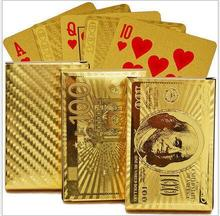 2017 Pure 24 K Carat Novelty Gold Foil Plated Poker Playing Cards w/ 52 Cards & 2 Jokers Gift Table Games(China)