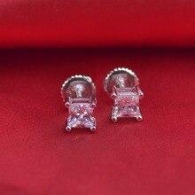 LSE938 925 серебряных Серег Стержня Твердых Винт Обратно серьги циркон камень 4 мм