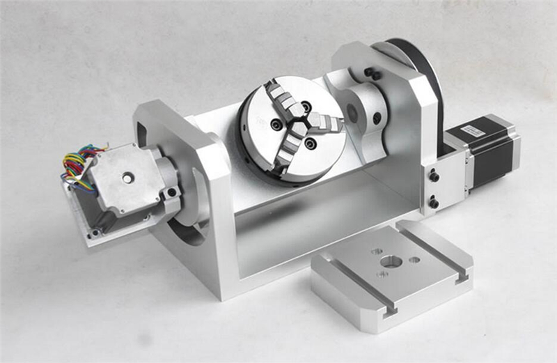 K01 3 Jaw Chuck CNC Rotary Axis CNC Dividing Head 5th A axis Ratio 6:1 with 2pcs Nema23 3A Stepper Motors for CNC Router New fifthe 5th axis cnc dividing head a axis rotation fifth axis with chuck 3 jaw chuck cnc engraving machine