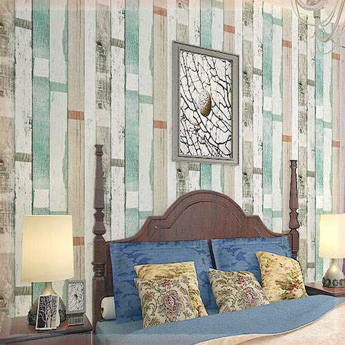 Buy American Style Striped Wallpaper Vintage Wood Wall Paper 3d For Bars Living