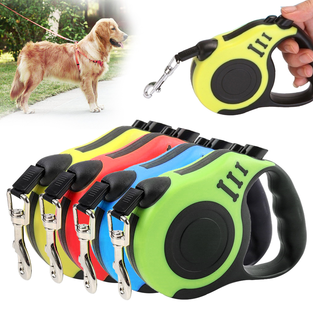 3m/5m Durable Pets Dog Leash Nylon Extending Puppy Walking Running Dog Leads Automatic Retractable Reflective Tape Dog Leashes