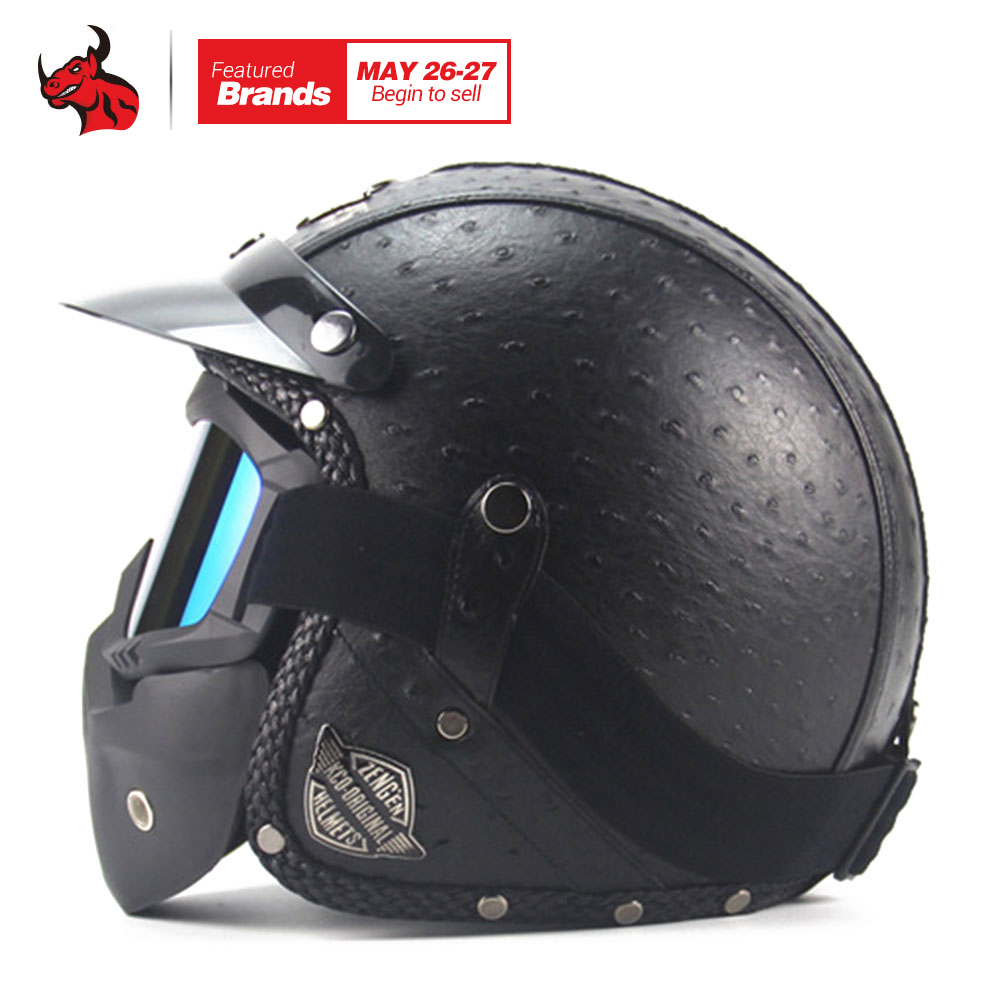 New Retro Vintage Motorcycle Helmet Synthetic Leather Moto Helmet Cruiser Touring Chopper 3/4 Open Face Helmet DOT Glasses Mask
