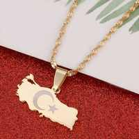 Turkey Map Flag Gold Color Turkish Pendant Necklace for Women Men Turks Jewelry Patriotic Gifts
