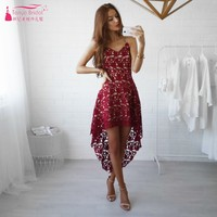 Hot Fashion Short Front Long Back Lace Cocktail Dresses Cut Out Lace Party Dress Gown Blue Burgundy Homecoming Dress DQG535