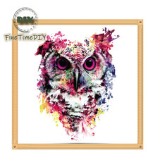FineTime 5D DIY Diamond Embroidery Colorful Owl Partial Drill Animals Diamond Painting Cross Stitch Mosaic Painting finetime lucky fish 5d diy diamond painting partial drill diamond embroidery cross stitch animals mosaic painting