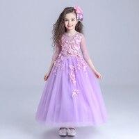 Fashion Children long sleeve princess dress girls costume flower fairy clothes child wedding ceremoney summer clothing dresses