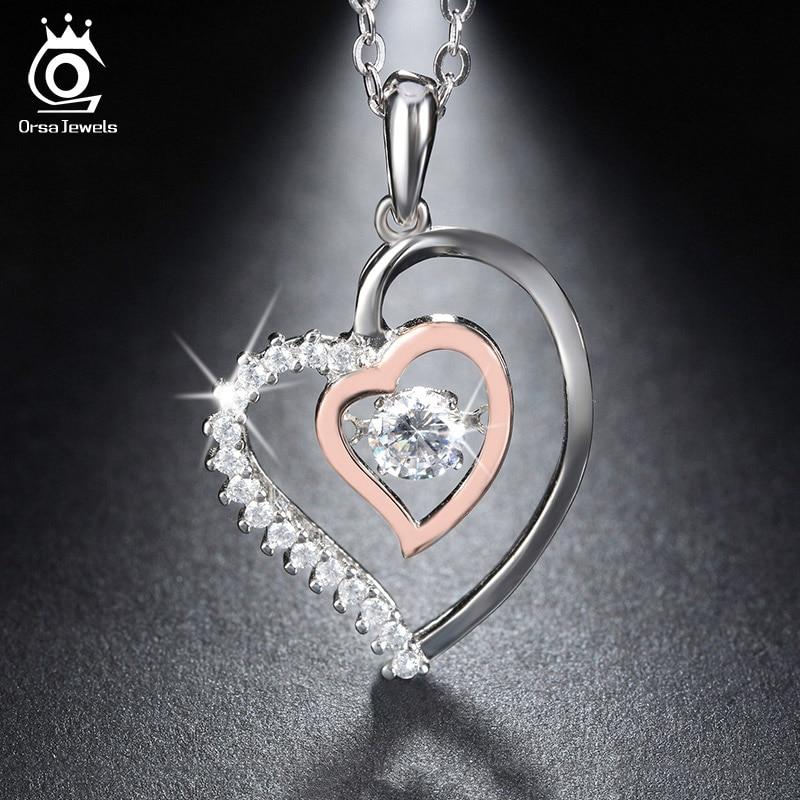 ORSA JEWELS Asli 925 Perak Liontin Jantung Ganda Kalung dengan 0.3 ct - Perhiasan fashion - Foto 2