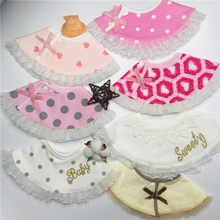 Princess lace lace 360 round rotating saliva towel cotton bib bib can be customized embroidery name baby creative gift(China)