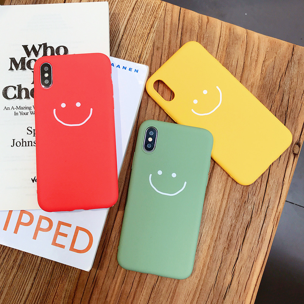 KIPX1083_6_JONSNOW Phone Case for iPhone X XR XS Max Candy Color Smiley Pattern Soft Silicone Case for iPhone 7 8 6S 6 Plus Back Cover