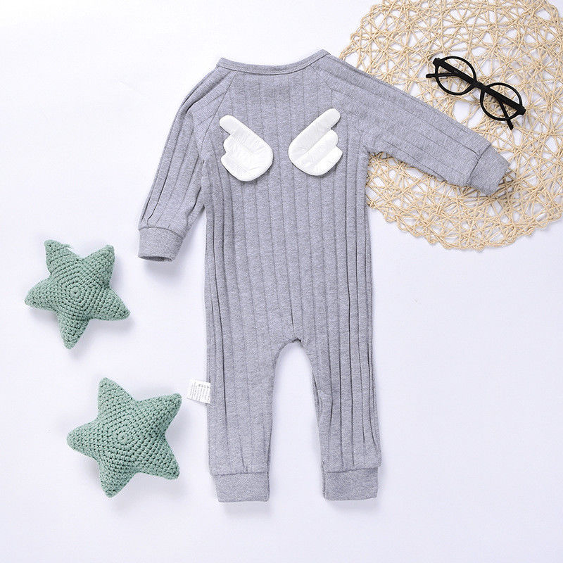 2017 Brand New Newborn Toddler Infant Kid Baby Girl Boy Angel Wings Clothes Jumpsuit Romper Long Sleeve Outfits Adorable Clothes 2017 baby girl summer romper newborn baby romper suits infant boy cotton toddler striped clothes baby boy short sleeve jumpsuits