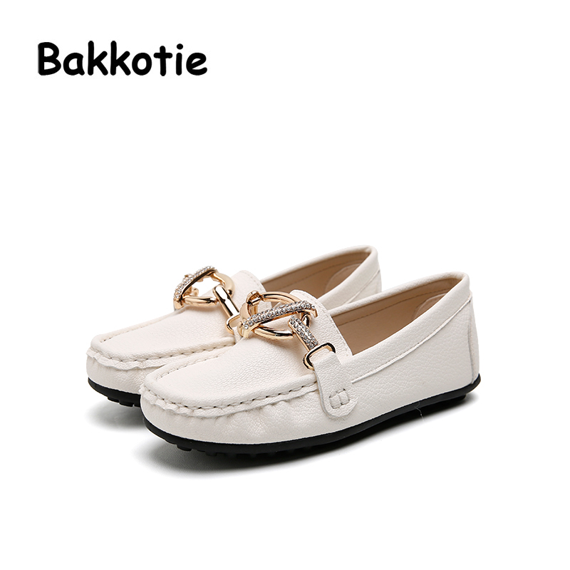 Bakkotie 2017 New Autumn Baby Girl Brand Shoe Kid Leisure Moccasin Shoes Breathable Rhinestone Pink Child Soft Sole Black Flats