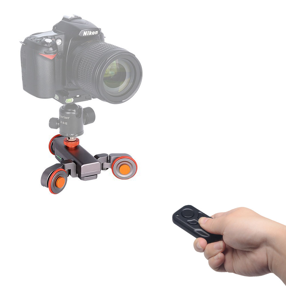 Mcoplus Auto Dolly Wireless Remote Control Electric Motorized 3-Wheel Pulley Car Slider Rolling Skater for DSLR Phone 3 wheel autodolly rail rolling slider skater mobile electric dolly car for dslr cameras video camcorder smartphones