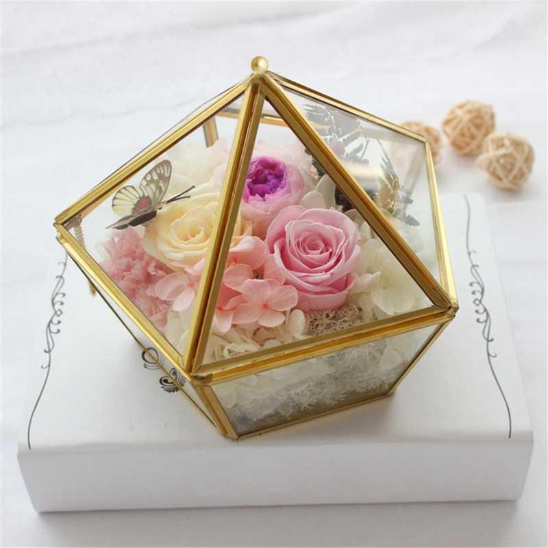 الزجاج خاتم مربع مجوهرات الزفاف حالة الخالد زهرة الزجاج غطاء الإبداعية المنزل الديكور